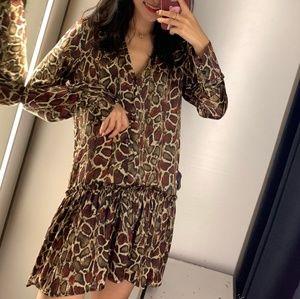 NWT Zara Snake Ruffle Animal Dress 2031/398